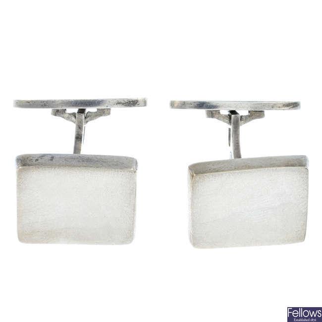 GEORG JENSEN - a pair of silver cufflinks, no. 84.