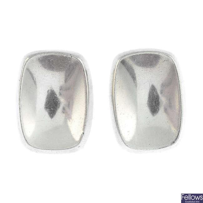 BENT KNUDSEN - a pair of 1970s silver earrings.