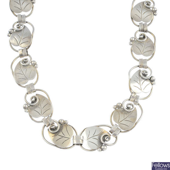 GEORG JENSEN - a silver 'leaf and berry' necklace, no. 113.
