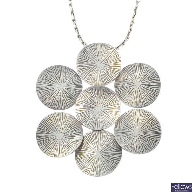 WALDEMAR JONSSON - a 1970s silver pendant, with Swedish chain.