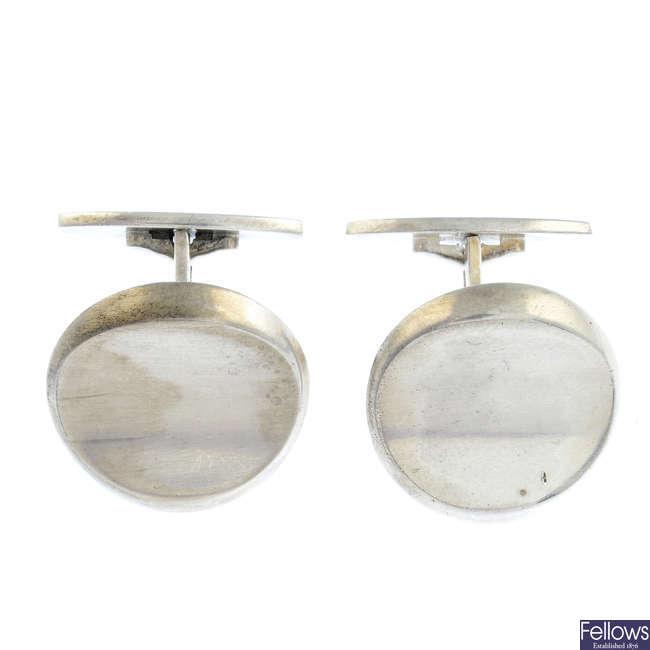 HANS HANSEN - a pair of silver cufflinks.