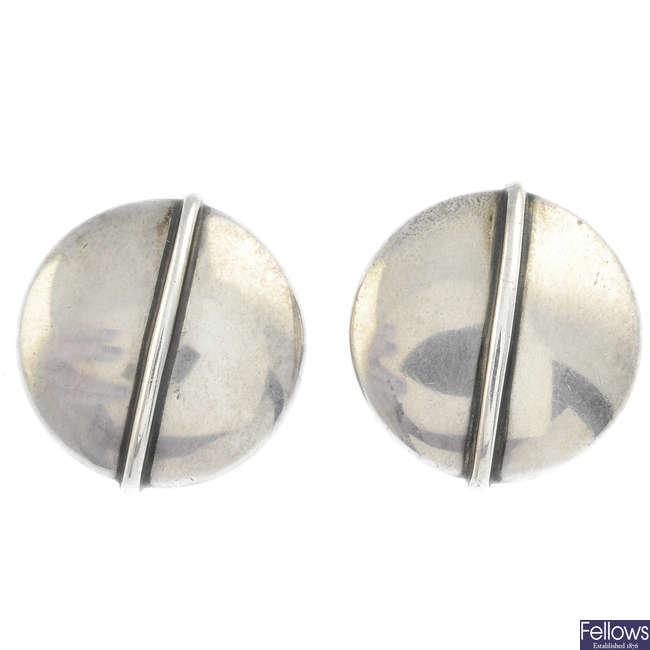 GEORG JENSEN - a pair of silver earrings, no. 232.