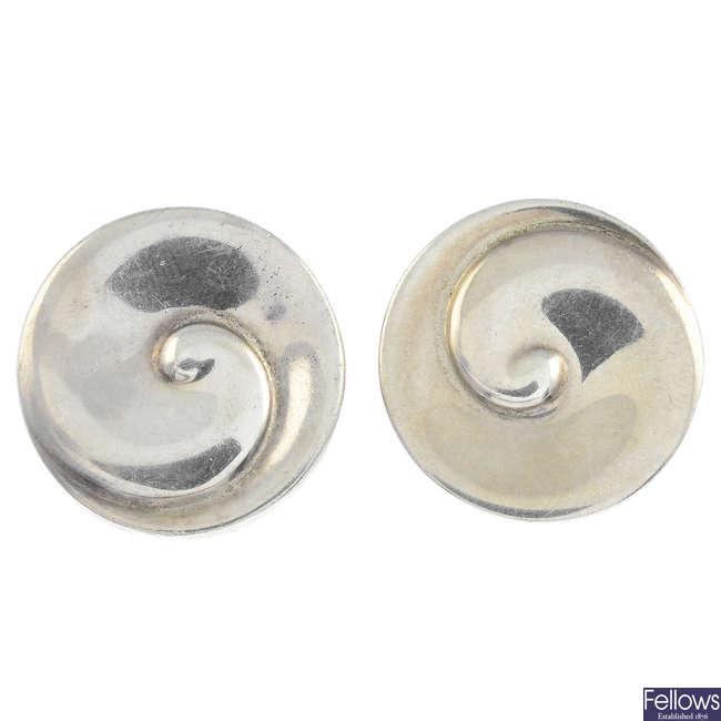 GEORG JENSEN - a pair of silver earrings, no. 409.
