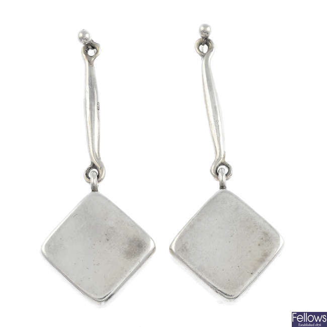 GEORG JENSEN - a pair of silver earrings, no. 152.