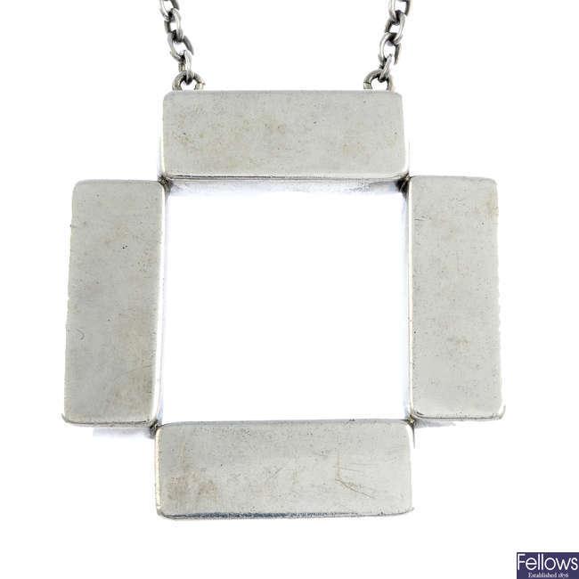 GEORG JENSEN - a silver pendant on chain, no. 379.