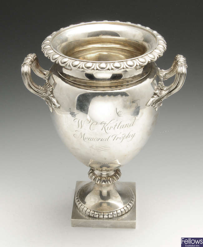A large early twentieth century silver twin-handled urn.