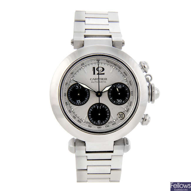CARTIER - a stainless steel Pasha chronograph bracelet watch.