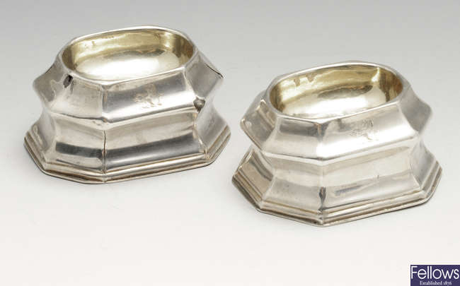 A pair of George I silver trencher salts.