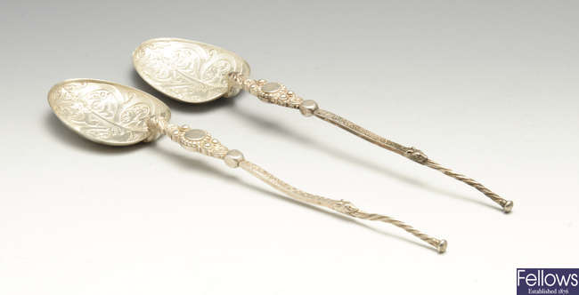 A pair of late Victorian silver reproduction anointing spoons.