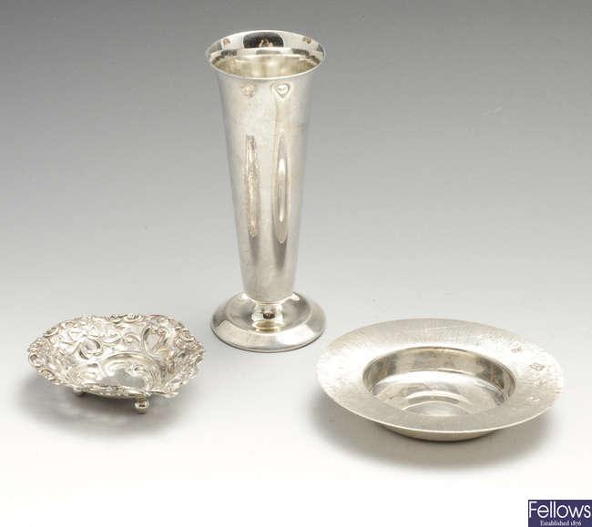 A late Victorian small silver pierced trinket dish, a modern silver armada style dish & a modern silver bud vase. (3).