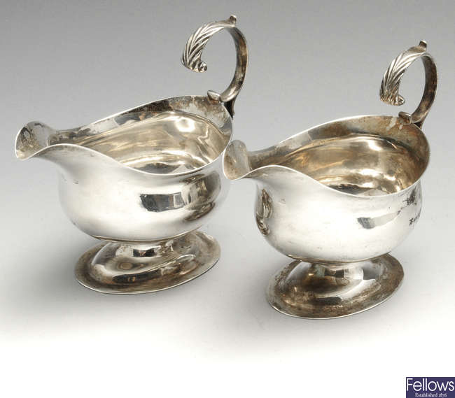 A pair of George III small silver sauce boats.