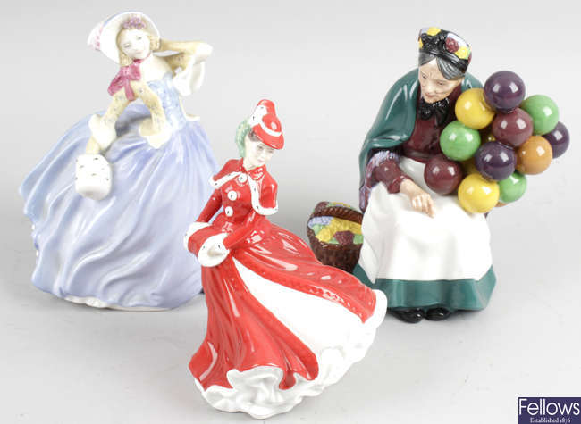 Ten Royal Doulton bone china figurines.