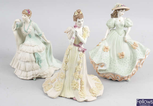 Thirty two assorted bone china and porcelain figurines, to include Coalport and other examples.