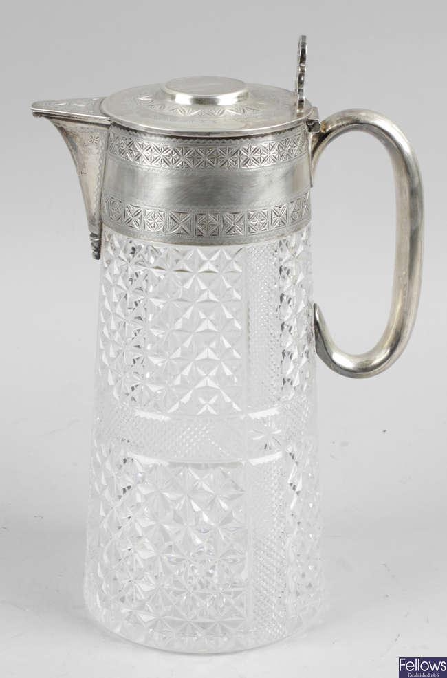 A late Victorian cut glass jug.