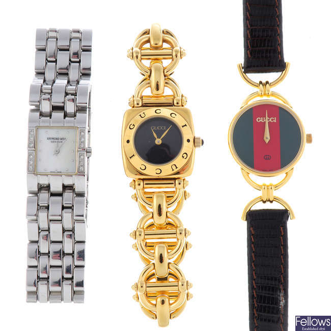 RAYMOND WEIL - a lady's stainless steel Tema bracelet watch with two Gucci watches.