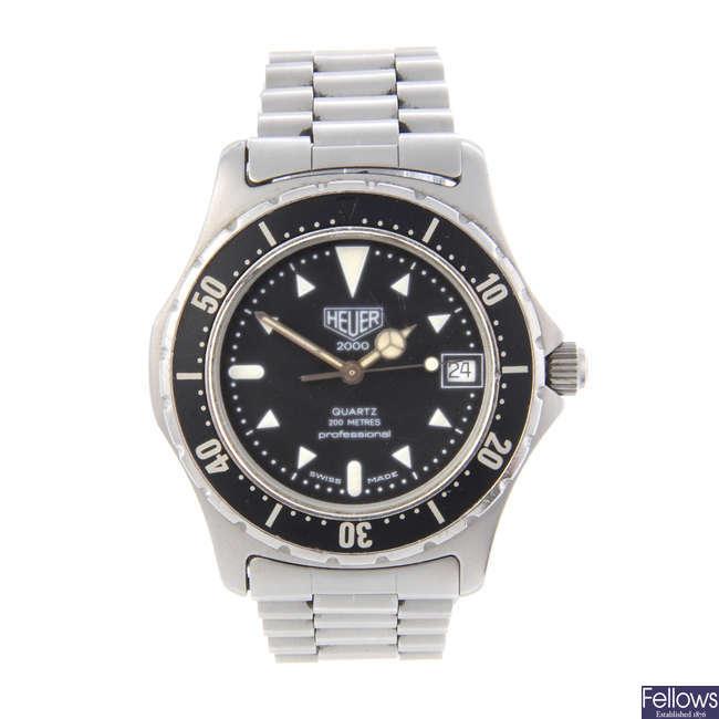 HEUER - a gentleman's stainless steel Series 2000 bracelet watch.