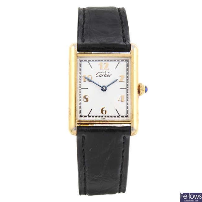 CARTIER - a gold plated Must de Cartier wrist watch.
