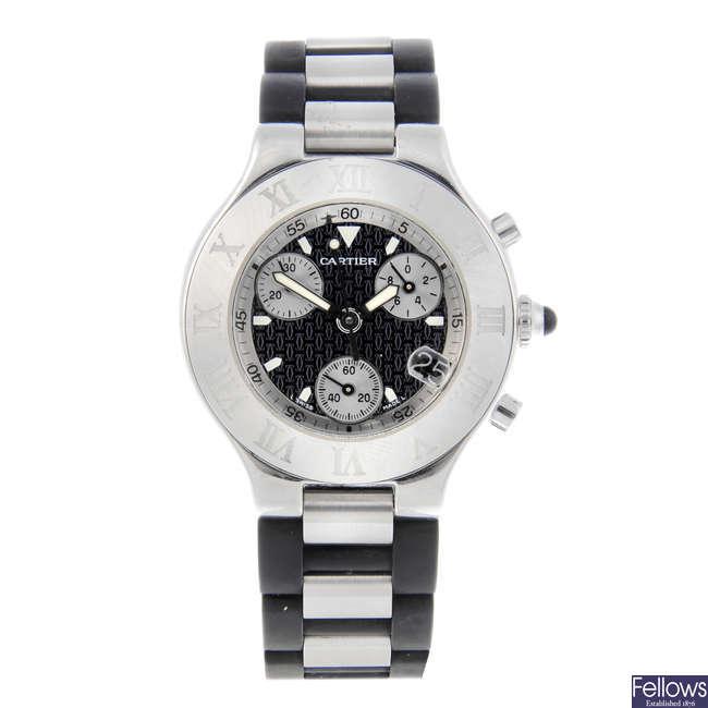 CARTIER - a stainless steel Chronoscaph 21 chronograph wrist watch.