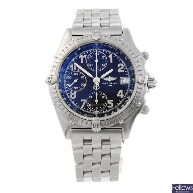 BREITLING - a gentleman's Chronomat Blackbird chronograph bracelet watch.