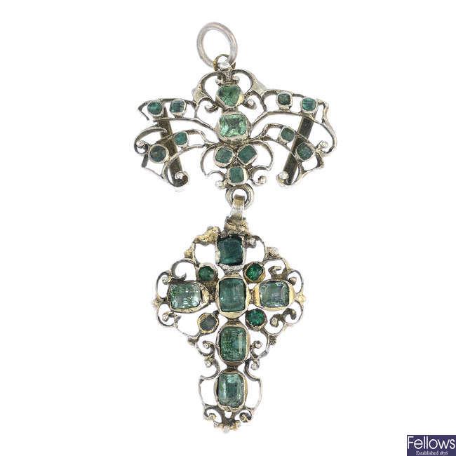 A late Georgian emerald and gem-set pendant.
