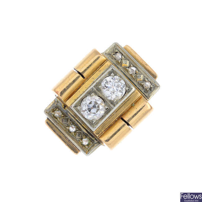A 1940s gold diamond cocktail ring.