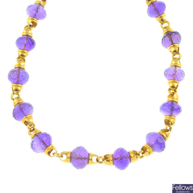 An amethyst necklace.