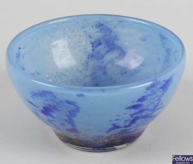 A mid 20th century Daum Nancy blue glass bowl.