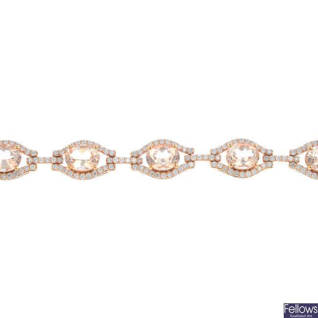 A morganite and diamond bracelet.
