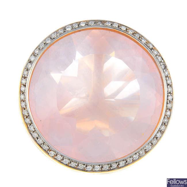 GAVELLO - a rose quartz and diamond dress ring.