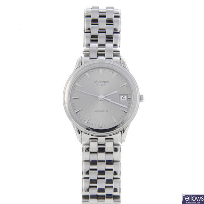 LONGINES - a gentleman's stainless steel Flagship bracelet watch with two lady's Longines watches