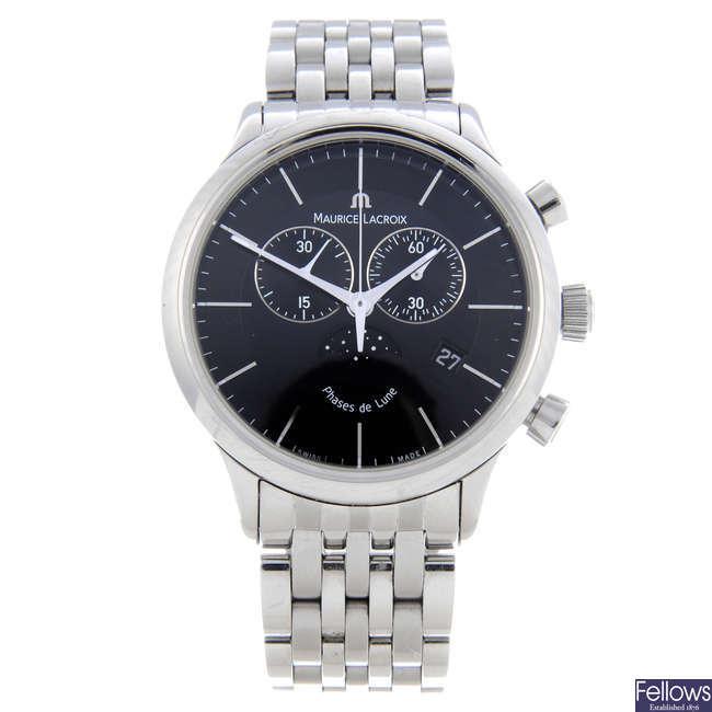 MAURICE LACROIX - a gentleman's stainless steel Les Classiques chronograph bracelet watch.
