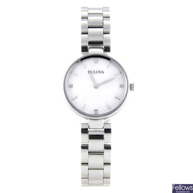 BULOVA - a lady's stainless steel Diamond Gallery bracelet watch.
