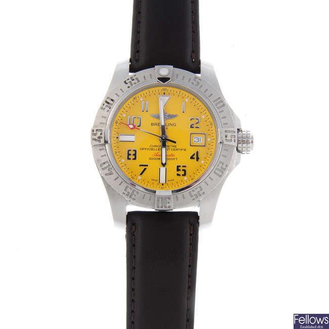 BRIETLING - a gentleman's stainless steel Avenger II Seawolf wrist watch.