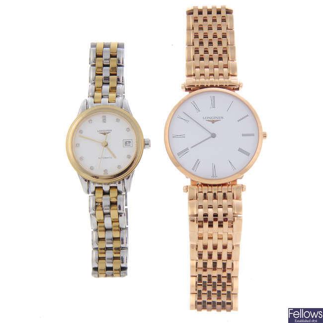 LONGINES - a lady's bi-colour Flagship bracelet watch with Longines bracelet watch.