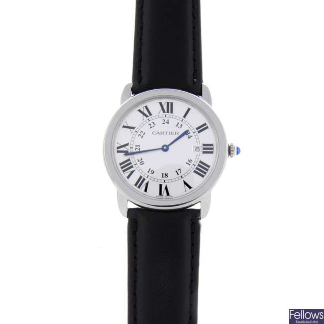 CARTIER - a stainless steel Ronde Louis wrist watch.