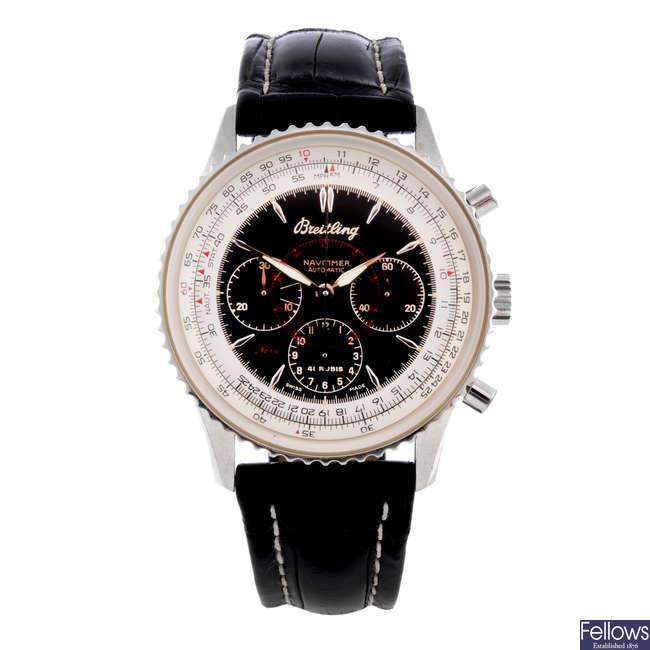 BREITLING - a limited edition gentleman's platinum Navitimer Montbrilliant chronograph wrist watch.