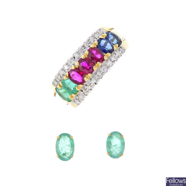 An 18ct gold diamond and gem-set dress ring and a pair of 9ct gold emerald earrings.