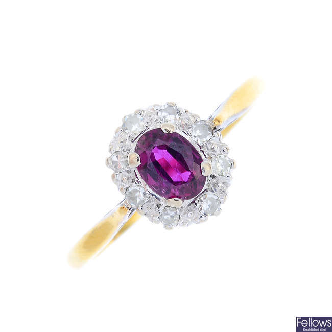 A mid 20th century 18ct gold ruby and diamond cluster ring.