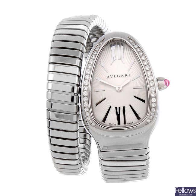BULGARI - a lady's stainless steel Serpenti Tubogas bracelet watch.