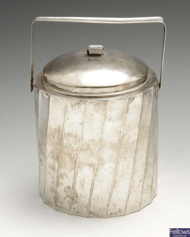 An Italian silver swing-handled ice bucket, marked Cartier.