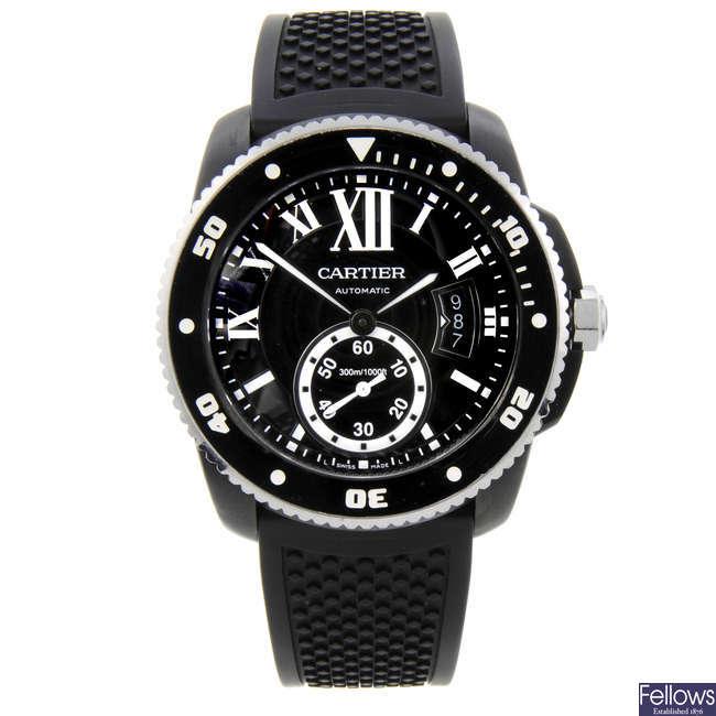 CURRENT MODEL: CARTIER - a PVD-treated stainless steel Calibre de Cartier Diver wrist watch.