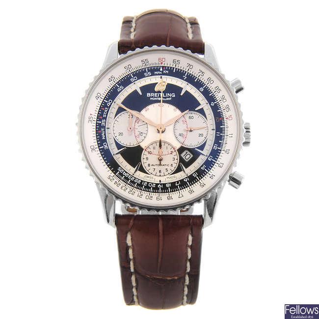 BREITLING - a gentleman's stainless steel Navitimer Montbrilliant chronograph wrist watch.