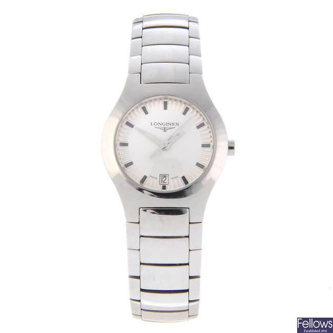 LONGINES - a lady's stainless steel Oposition bracelet watch.