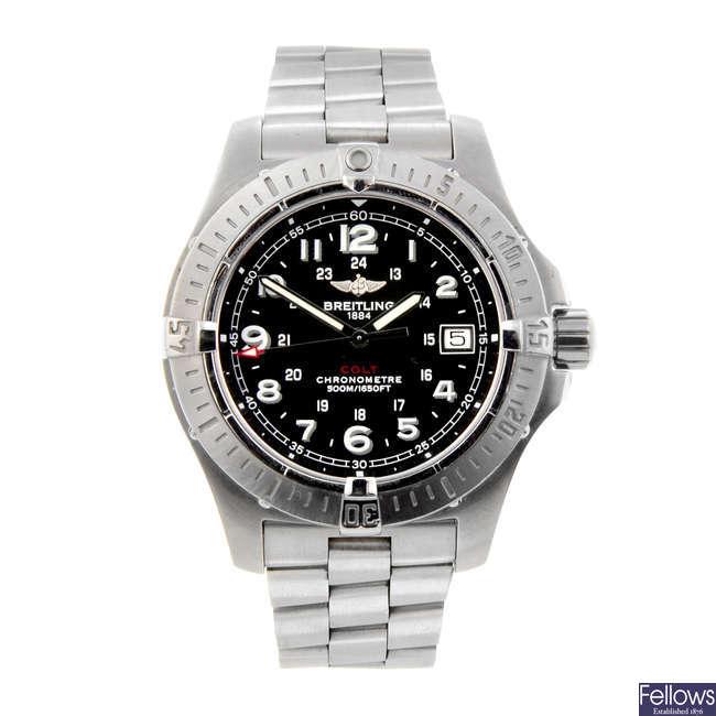 BREITLING - a gentleman's stainless steel Colt bracelet watch.