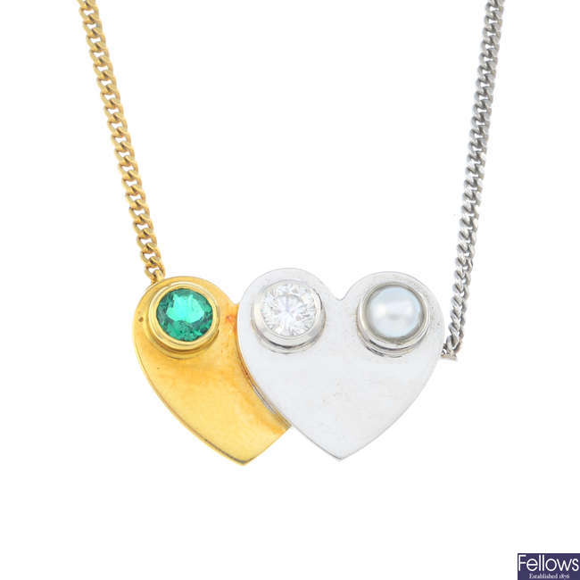 An 18ct gold diamond, emerald and split pearl necklace.