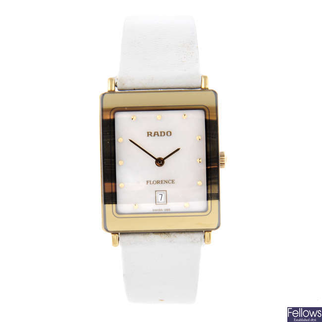 RADO - a lady's gold plated Florence wrist watch with a Gucci watch.