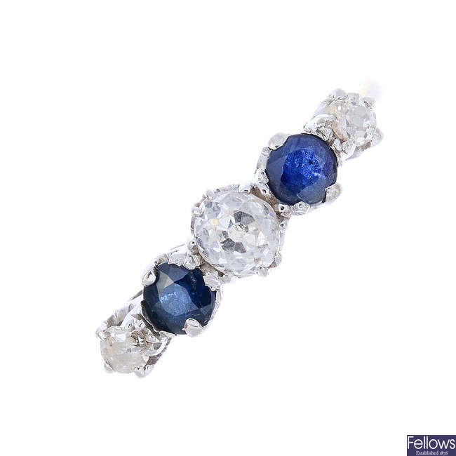 A mid 20th century 18ct gold and platinum, diamond and sapphire five-stone ring.