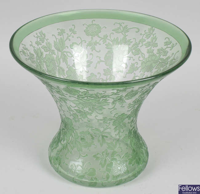 A Richardson's Art Nouveau green and clear cameo glass vase.