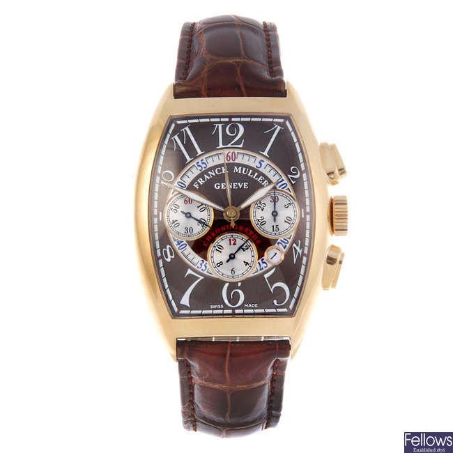 FRANCK MULLER - a gentleman's 18ct yellow gold Cintrée Curvex chronograph wrist watch.