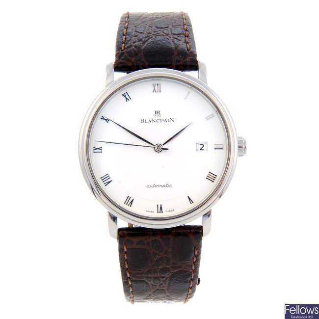BLANCPAIN - a gentleman's stainless steel Villeret wrist watch.